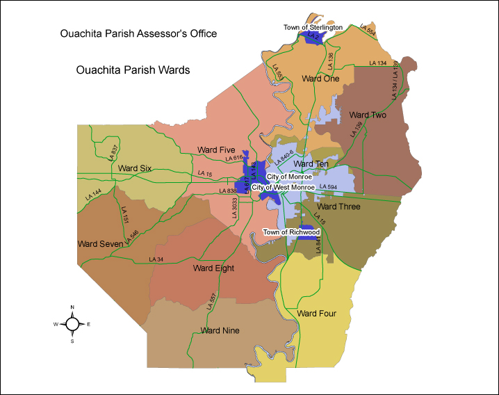 Louisiana State Map With Cities And Parishes.Home Page Ouachita Parish Assessor S Office